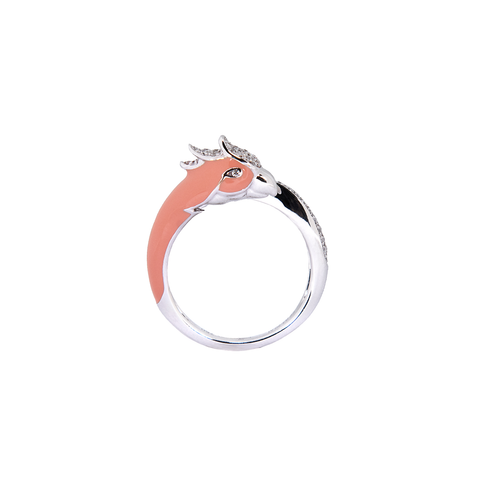 Artist Macaw Ring<br> (Semi-Diamond, 18K Solid Gold)