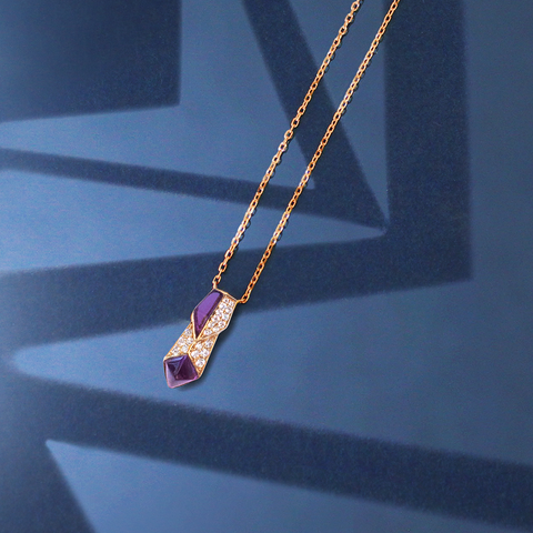 Edgy Arrow Necklace<br>(Full Diamond, 18K Solid Gold)