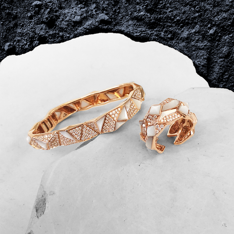 Edgy Double Unisex Ring<br>(Full Diamond, 18K Solid Gold)