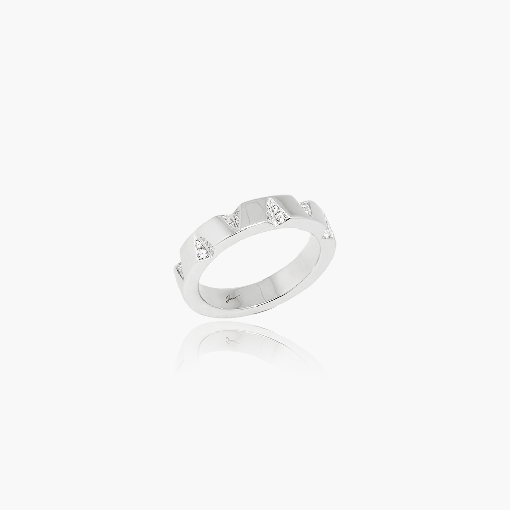 Edgy Facets Wedding Ring<br>(Diamonds, 9K Solid Gold)