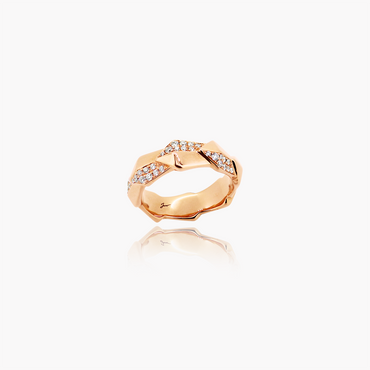 Edgy Icon Wedding Ring<br>(Diamonds, 18K Solid Gold)