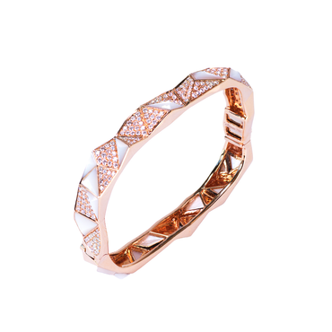 Edgy Bangle<br> (Full Diamond, 18K Solid Gold)
