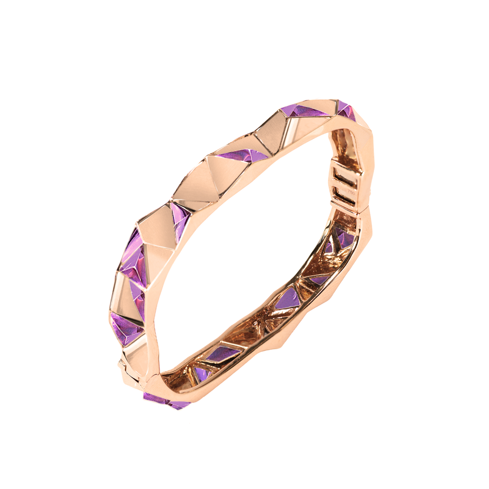 Edgy Bangle<br> (No Diamonds, 18K Solid Gold)