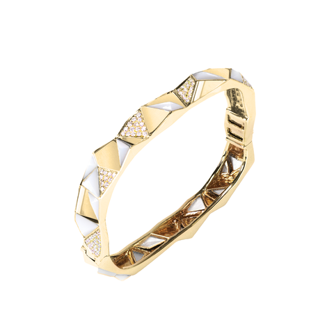 Edgy Bangle<br>(Semi-Diamond, 9K Solid Gold)