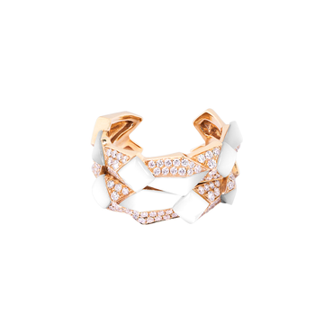 Edgy Double Unisex Ring<br>(Full Diamond, 9K Solid Gold)