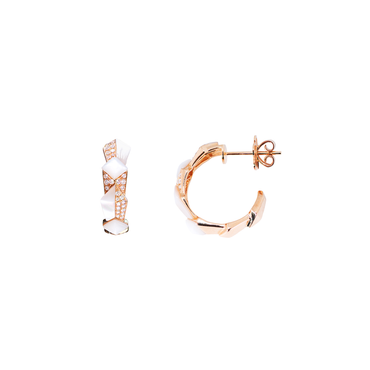 Edgy Round Hoops<br> (Full Diamond, 18K Solid Gold)