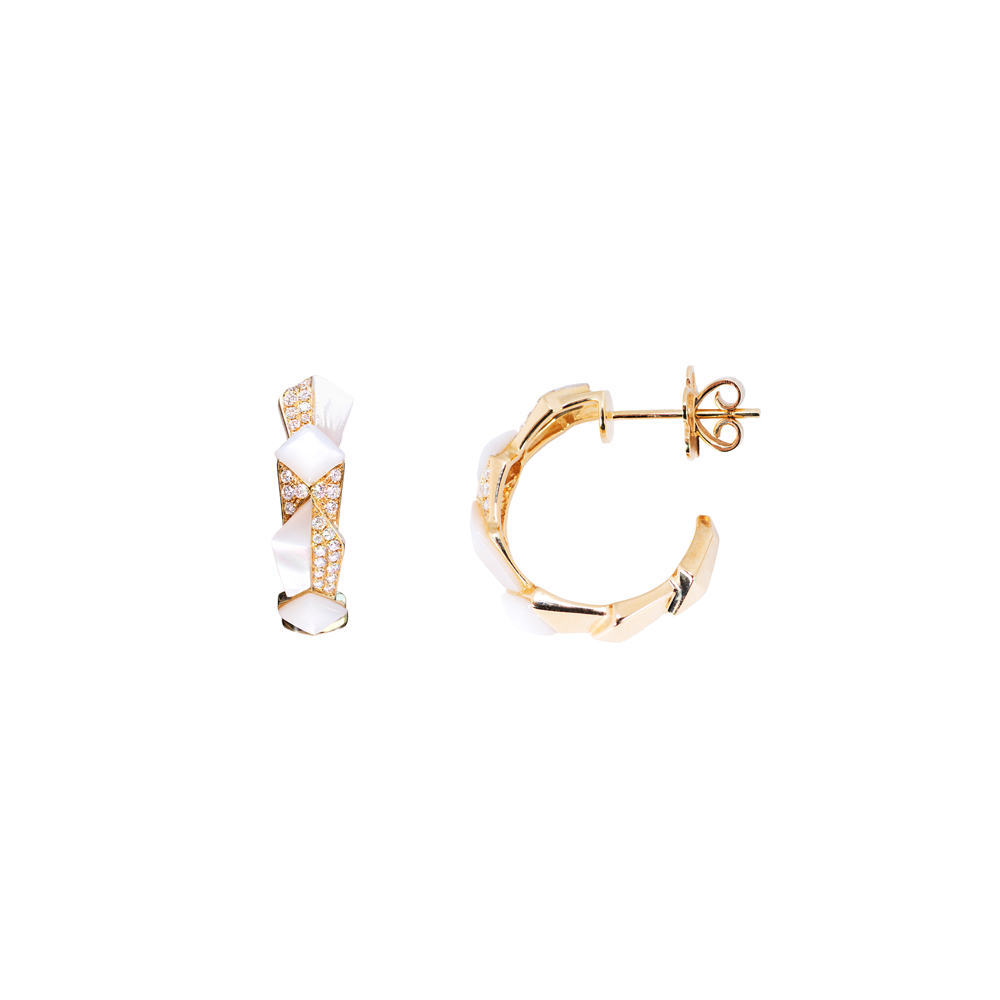 Edgy Round Hoops<br>(Full Diamond, 9K Solid Gold)