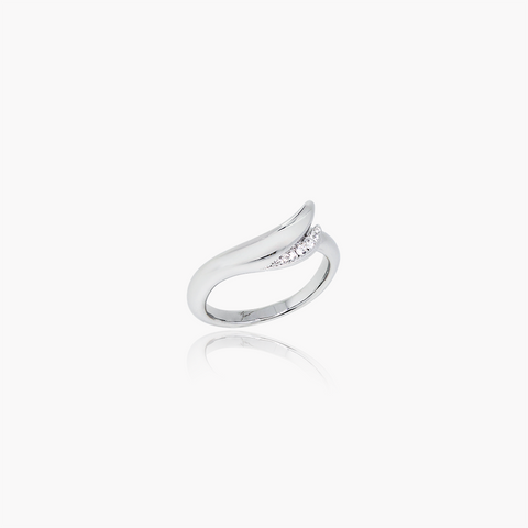 Lover Flow Wedding Ring<br>(Diamonds, 9K Solid Gold)