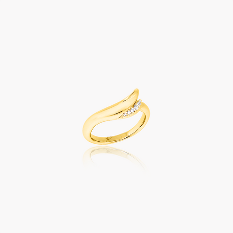 Lover Flow Wedding Ring<br>(Diamonds, 18K Solid Gold)