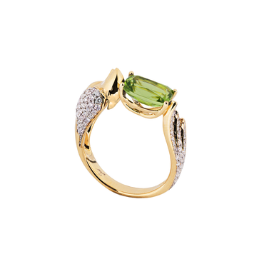 Lover Peace Ring<br>(Full Diamond, 18K Solid Gold)