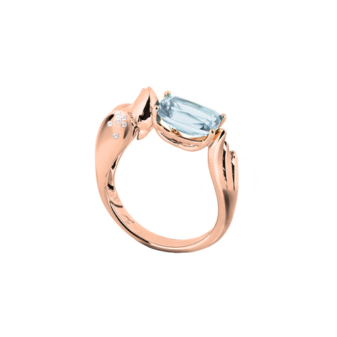 Lover Peace Ring<br> (Semi-Diamond, 18K Solid Gold)