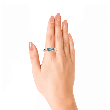 Lover Peace Ring <br>(Semi-Diamond, 9K Solid Gold)