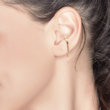 Ocean Dew Ear Cuff (18K Solid Gold)