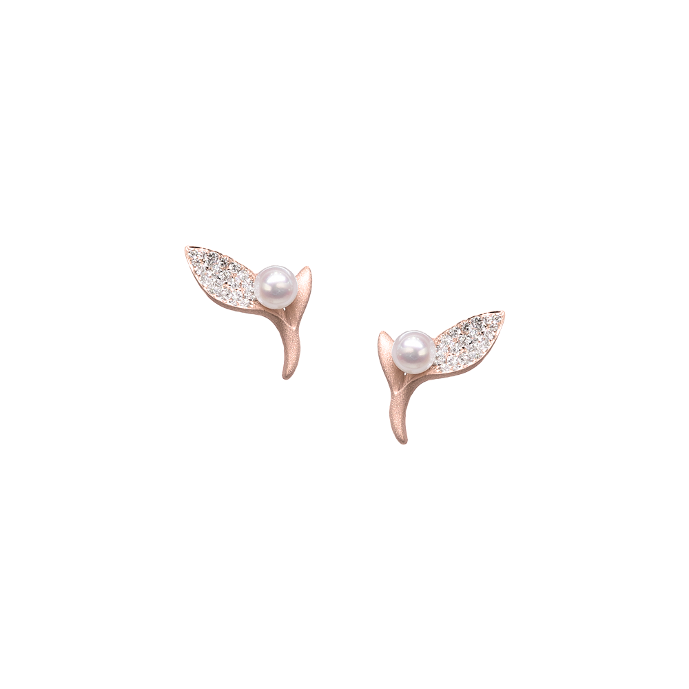 Ocean Kelp Studs<br> (Full Diamond, 18K Solid Gold)