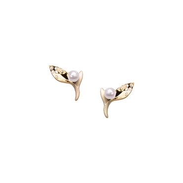 Ocean Kelp Studs<br> (Semi-Diamond, 9K Solid Gold)