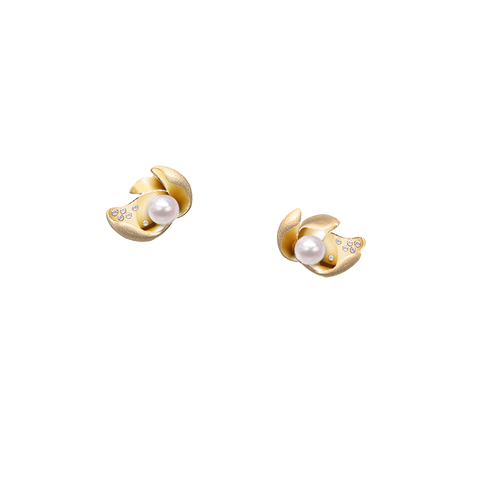Ocean Lily Studs<br> (Semi-Diamond, 9K Solid Gold)