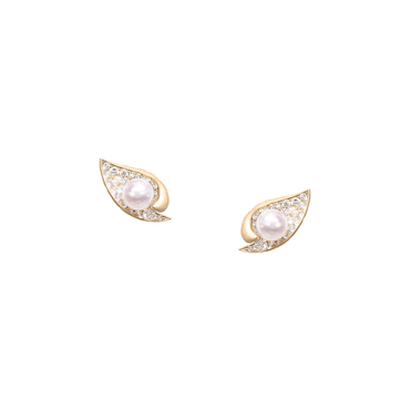 Ocean Shell Studs<br> (Full Diamond, 9K Solid Gold)