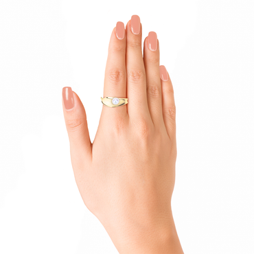 Ocean Surf Ring<br> (No Diamonds, 9K Solid Gold)