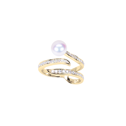 Ocean Wave Ring<br> (Full Diamond, 9K Solid Gold)