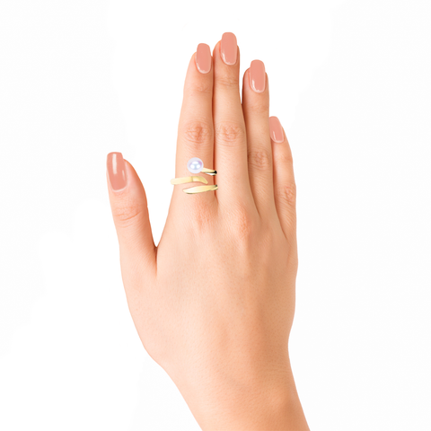 Ocean Wave Ring<br> (No Diamonds, 18K Solid Gold)