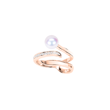 Ocean Wave Ring<br> (Semi-Diamond, 18K Solid Gold)