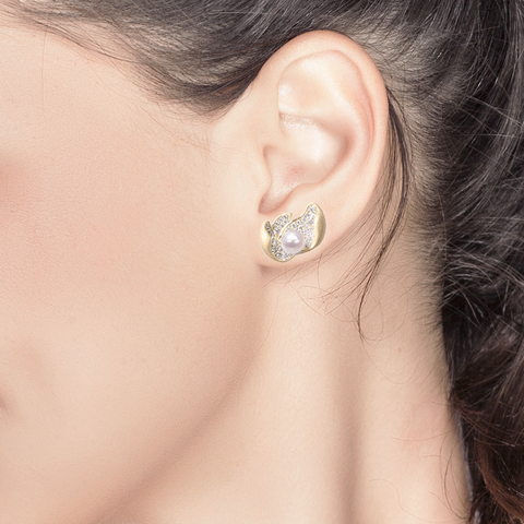Ocean Lily Studs<br> (Full Diamond, 9K Solid Gold)