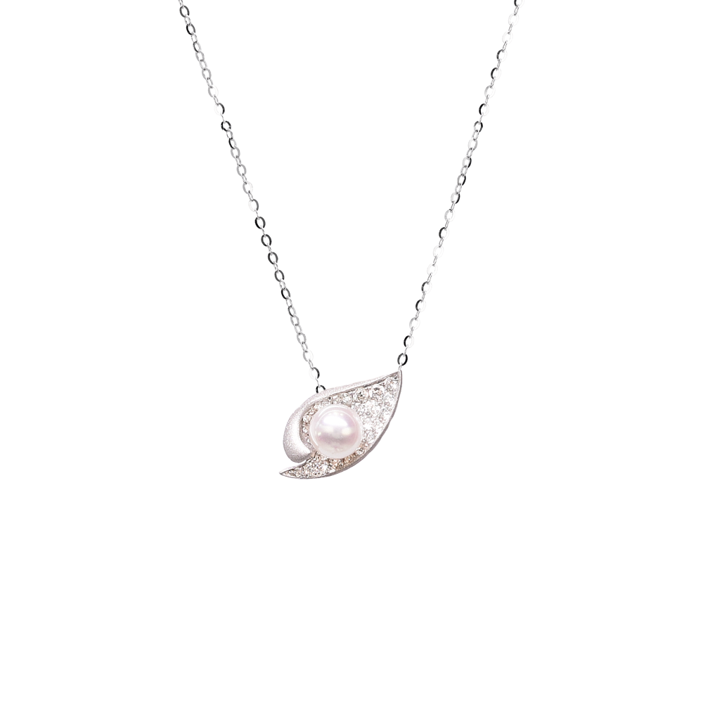 Ocean Shell Necklace<br> (Full Diamond, 18K Solid Gold)