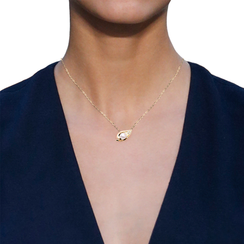 Ocean Shell Necklace<br> (Semi-Diamond, 18K Solid Gold)