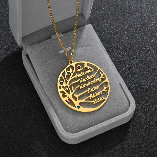Life tree family custom made stainless steel necklace