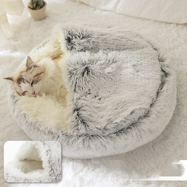 Round Plush Warm Pet Bed