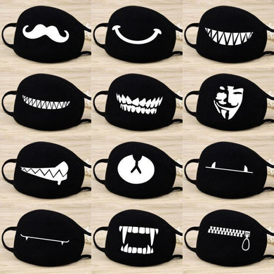 Cotton Dust Mask Cartoon Expression Teeth Muffle Chanyeol Face Respirator Anti Kpop Bear Mouth Mask - Yes