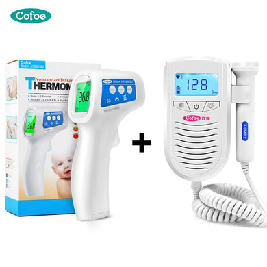 Cofoe Fetal Doppler Baby Heart Rate Monitor+ Infrared Forehead Thermometer Body Fever Temperature Measurement For Pregnant - Yes