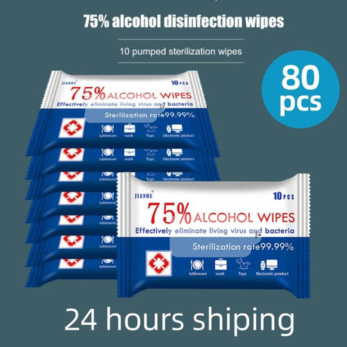 Dropship 80pcs/lot Disinfect Wipes Soft alcohol WET wipe Antiseptic Pads Large disinfection Wipes First Aid Cleaning wholesale - Yes