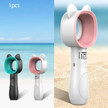 Carregar imagem no visualizador da galeria, Cute Cat Outdoor Usb Rechargeable Fan Portable Bladeless Fan Handheld Mini Cooler No Leaf Handy Cooling Fan - 618