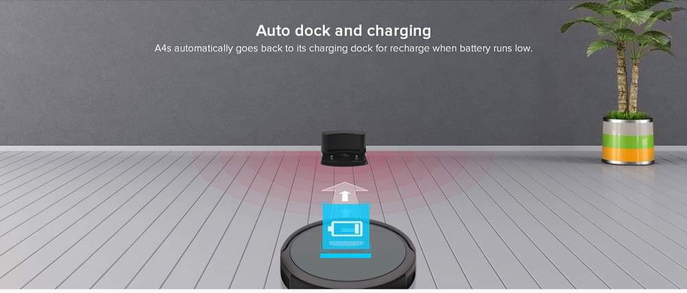 ILIFE A4S Smart Robotic Vacuum Cleaner Cordless Sweeping Cleaning Machine Self-recharging Ultimate Filter Remote Control Robot