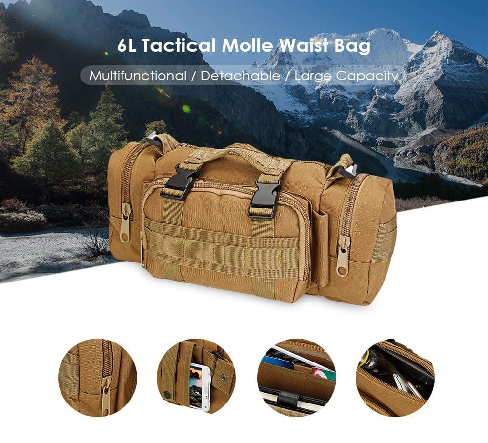 Outlife Multifunctional Tactical Waist Bag Molle Pack Military Rucksack for Hiking Camping Trekking