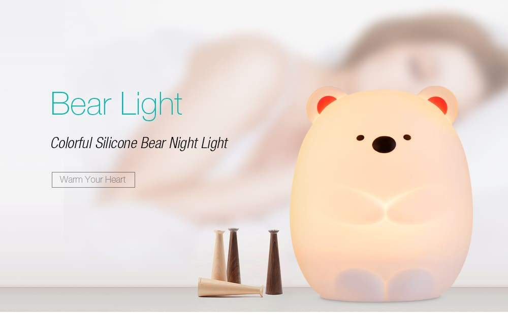 JM - 03 LED Rechargeable Silicone Bear Night Light Tap Control for Bedroom Living Room