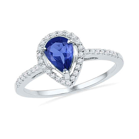 10kt White Gold Womens Pear Lab-Created Blue Sapphire Teardrop Ring 1 Cttw