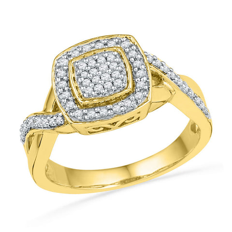 10kt Yellow Gold Womens Round Diamond Twist Square Cluster Ring 1/3 Cttw