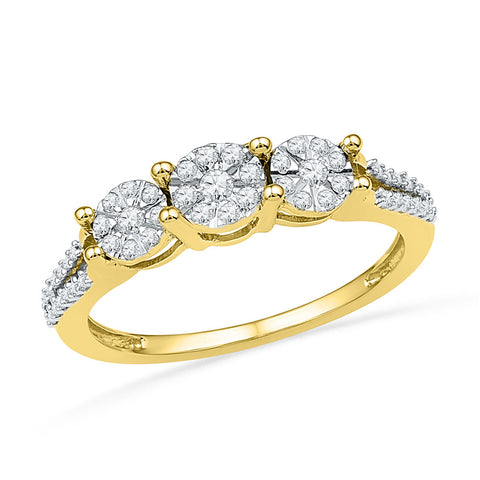10kt Yellow Gold Womens Round Diamond 3-stone Cluster Ring 1/4 Cttw