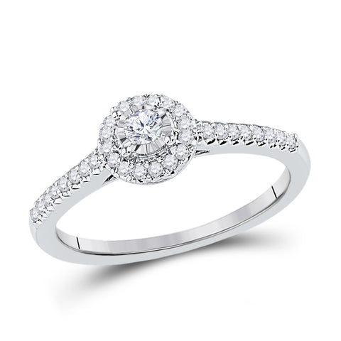10kt White Gold Womens Round Diamond Solitaire Promise Ring 1/4 Cttw