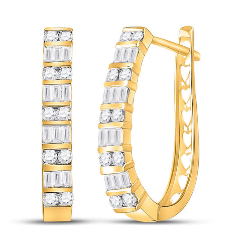 10kt Yellow Gold Womens Round Diamond Hoop Earrings 1 Cttw