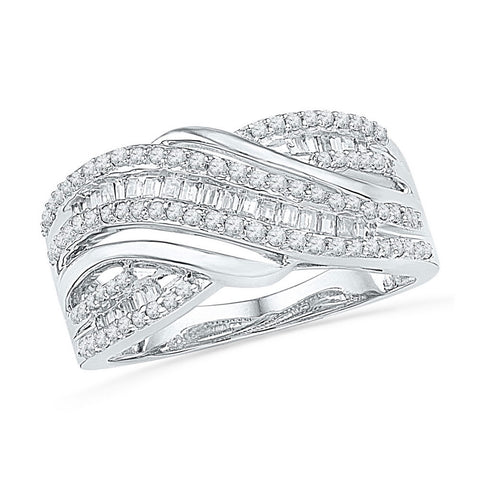 10kt White Gold Womens Baguette Diamond Crossover Band Ring 1/2 Cttw