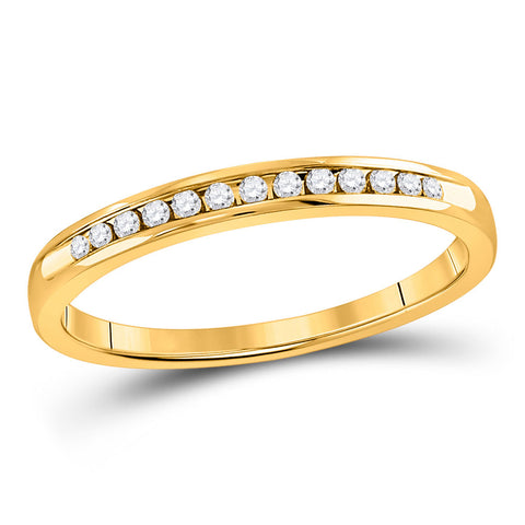 14kt Yellow Gold Womens Round Diamond Wedding Single Row Band 1/10 Cttw