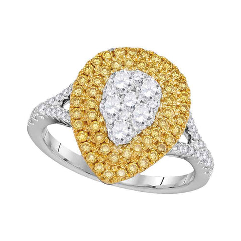 18kt White Gold Womens Round Yellow Diamond Teardrop Cluster Ring 1 Cttw