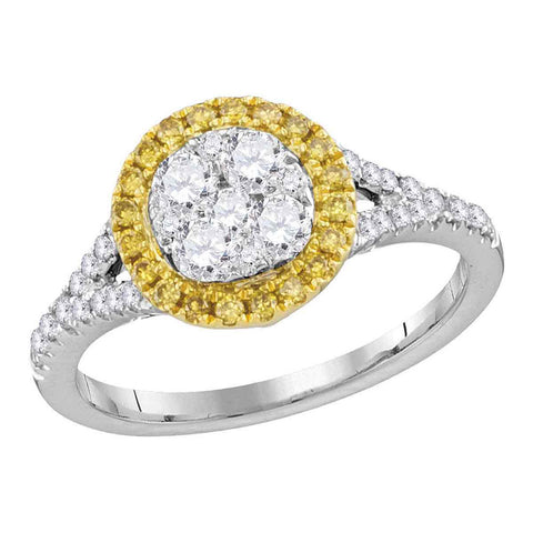 18kt White Gold Womens Round Yellow Diamond Cluster Ring 3/4 Cttw