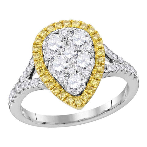 18kt White Gold Womens Round Yellow Diamond Teardrop Ring 1-1/2 Cttw
