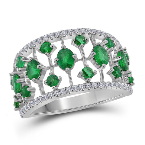 18kt White Gold Womens Oval Emerald Fashion Ring 1-5/8 Cttw