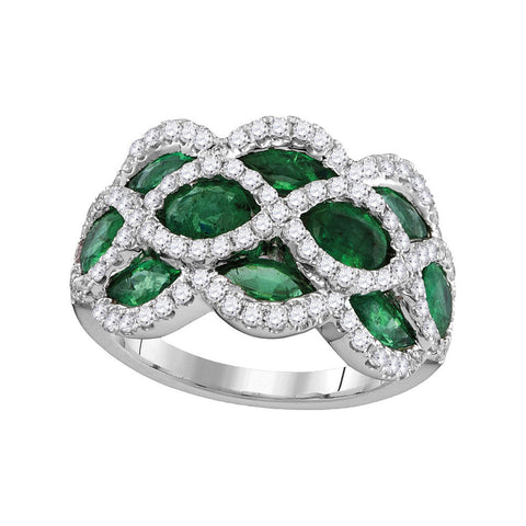 18kt White Gold Womens Marquise Emerald Diamond Fashion Ring 3 Cttw