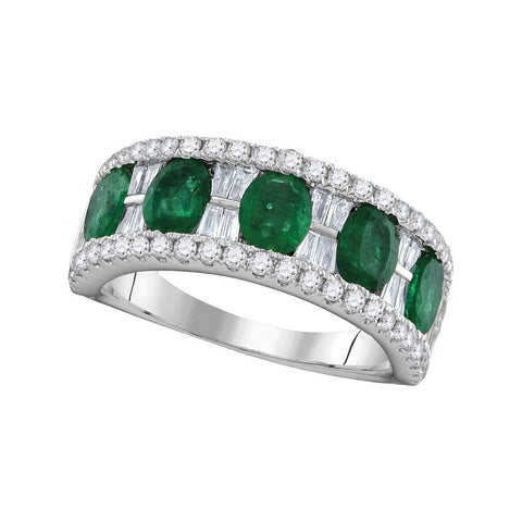 18kt White Gold Womens Oval Emerald Band Ring 2-3/8 Cttw